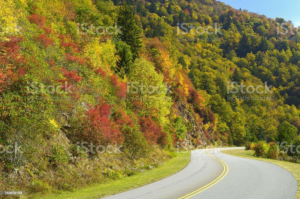 Blue Ridge Parkway on Waterrock Knob in Autumn, NC, USA stock photo