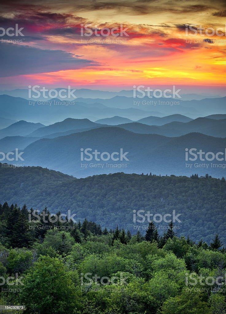 Blue Ridge Parkway Scenic Landscape Appalachian Mountains Ridges Sunset Layers stock photo