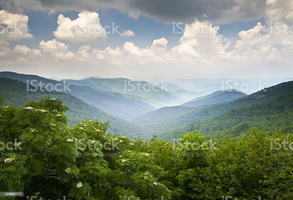Blue Ridge Parkway Scenic Mountains Overlook Summer Landscape Asheville NC stock photo