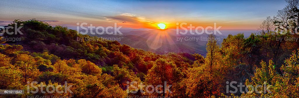Blue Ridge Parkway summer Appalachian Mountains Sunset stock photo