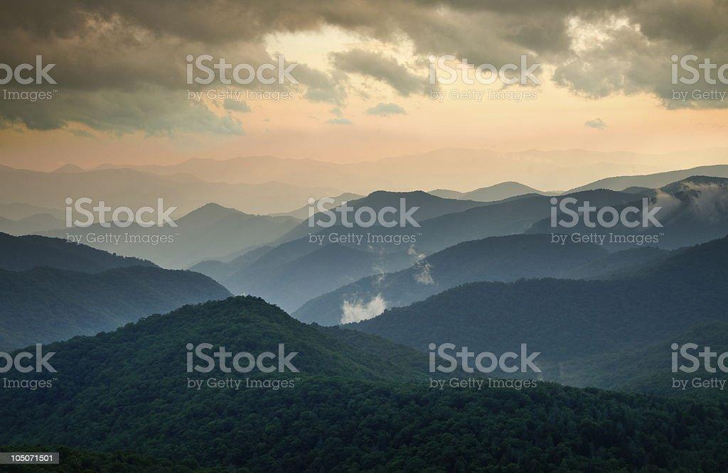 Blue Ridge Parkway Summer Sunset Landscape stock photo