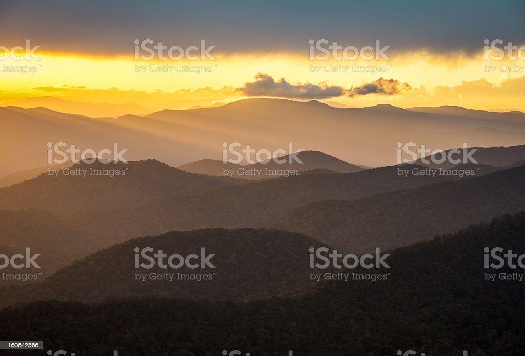 Blue Ridge Parkway Sunset Southern Appalachian Mountains Scenic Nature Landscape royalty-free stock photo