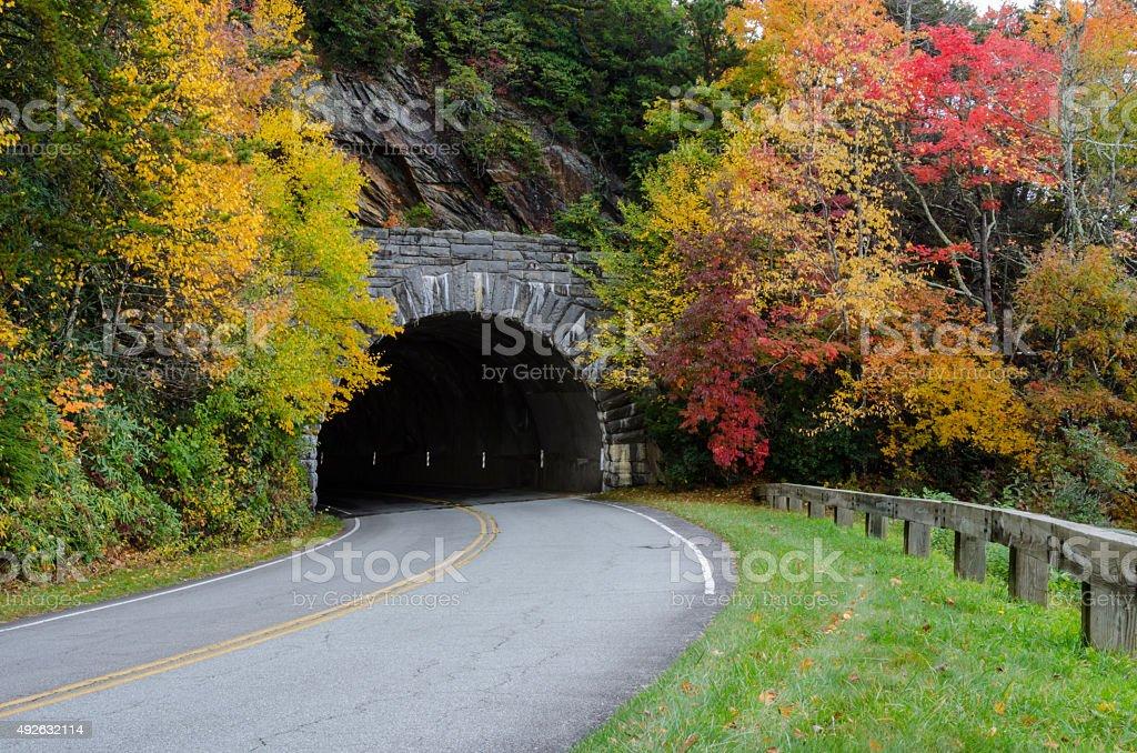 Blue Ridge parkway tunnel in fall stock photo