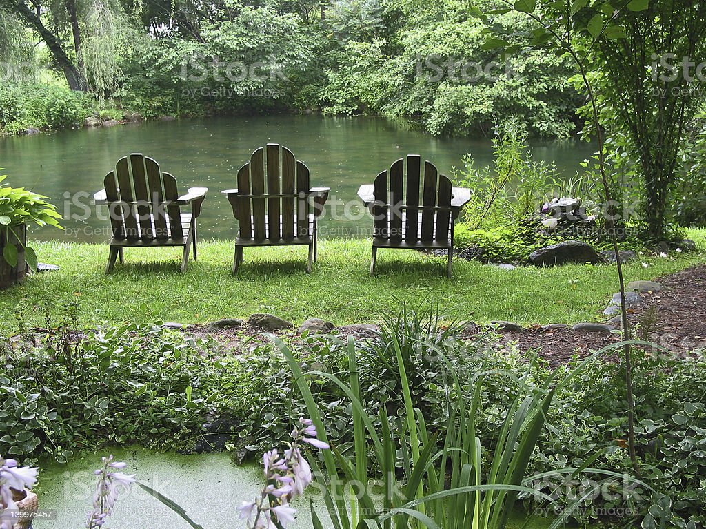 Blue Ridge Pottery Barn Chair Pond stock photo