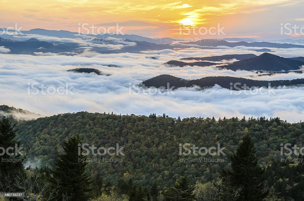 Blue Ridge Sunset stock photo