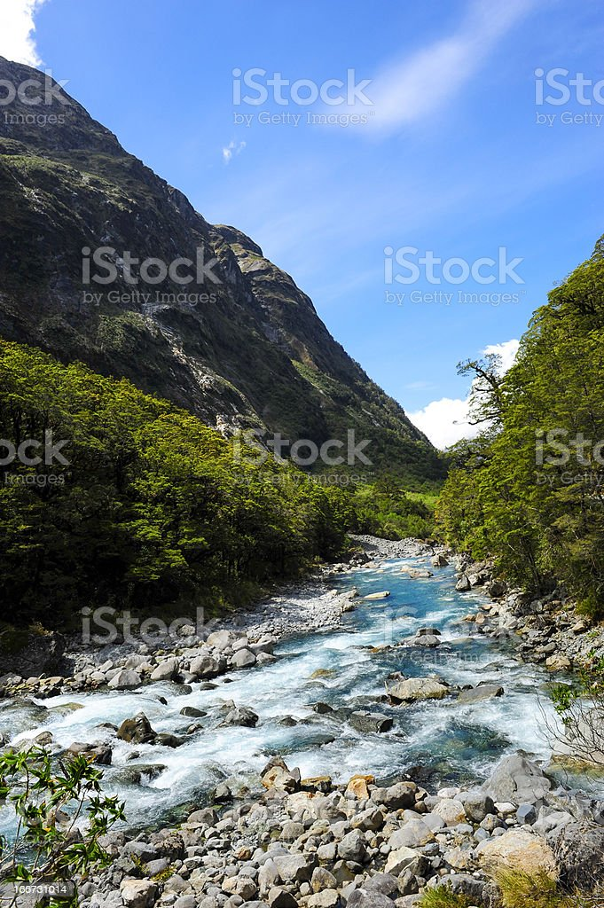 Blue River Flowing in New Zealand royalty-free stock photo