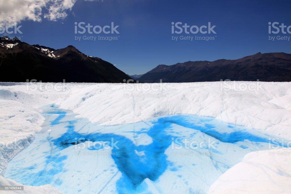 Blue River on Perito Moreno Glacier, Patagonia, Argentina royalty-free stock photo