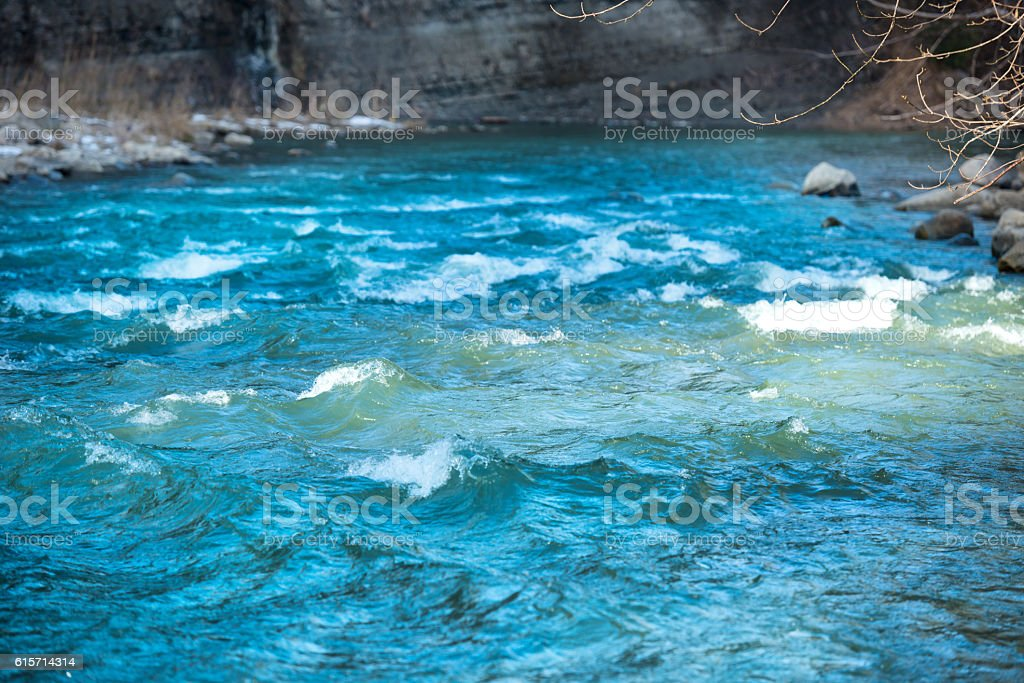 Blue river water with waves stock photo