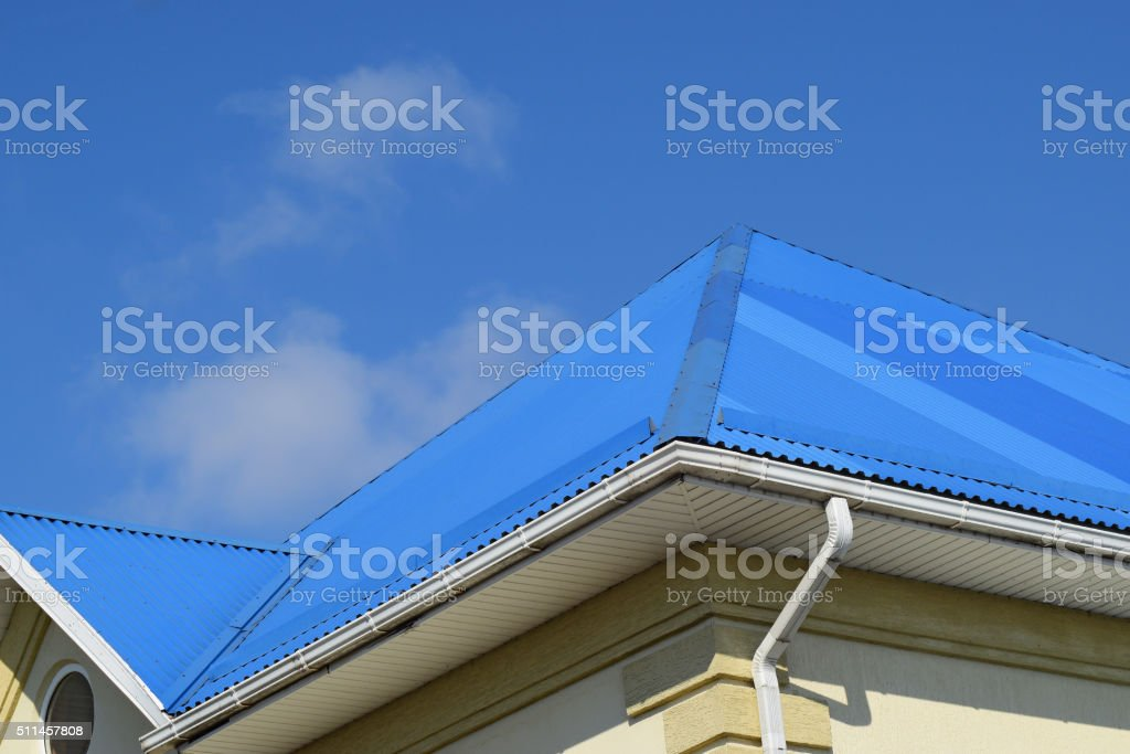 Blue roof metal sheets stock photo