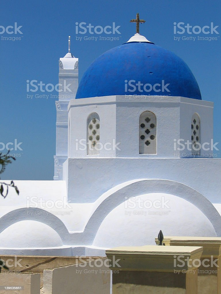 Blue roofed churches royalty-free stock photo