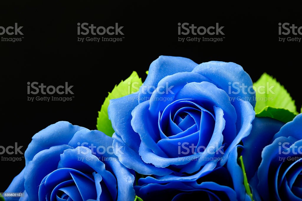 Blue rose flower on black background, made from clay royalty-free stock photo
