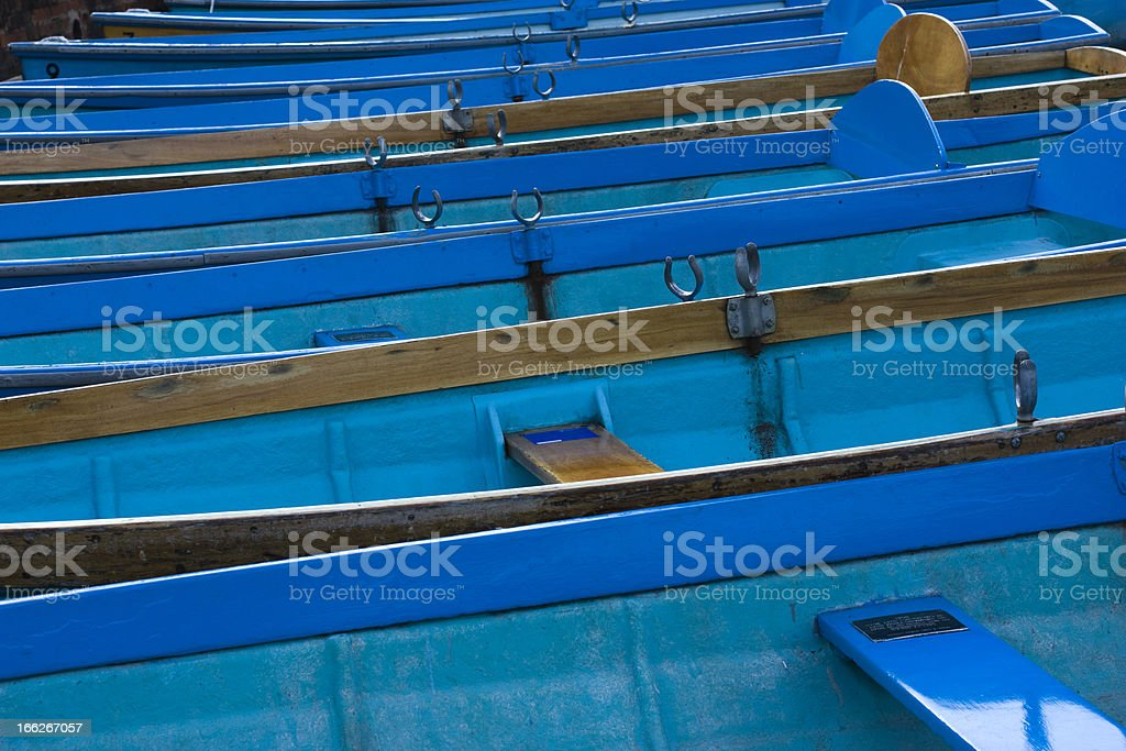 Blue Rowing Boats royalty-free stock photo