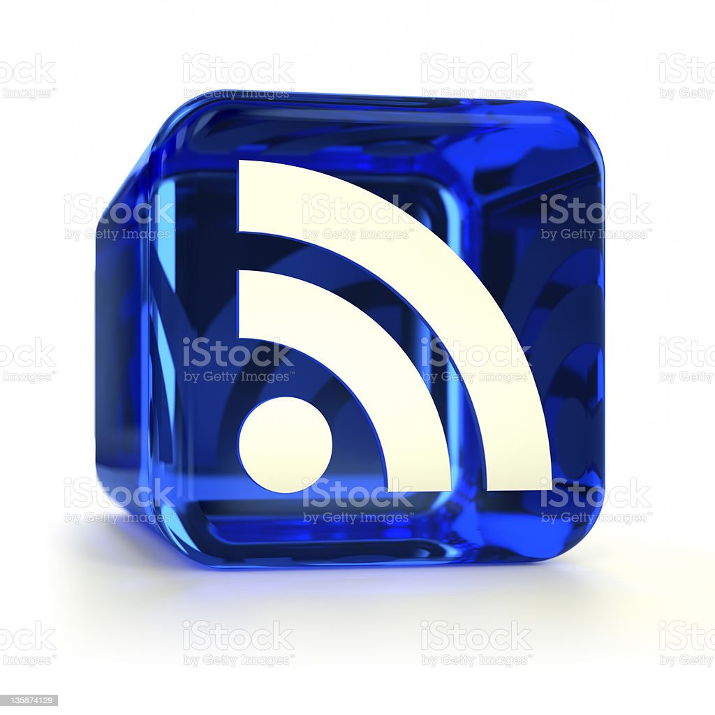 Blue RSS Icon stock photo
