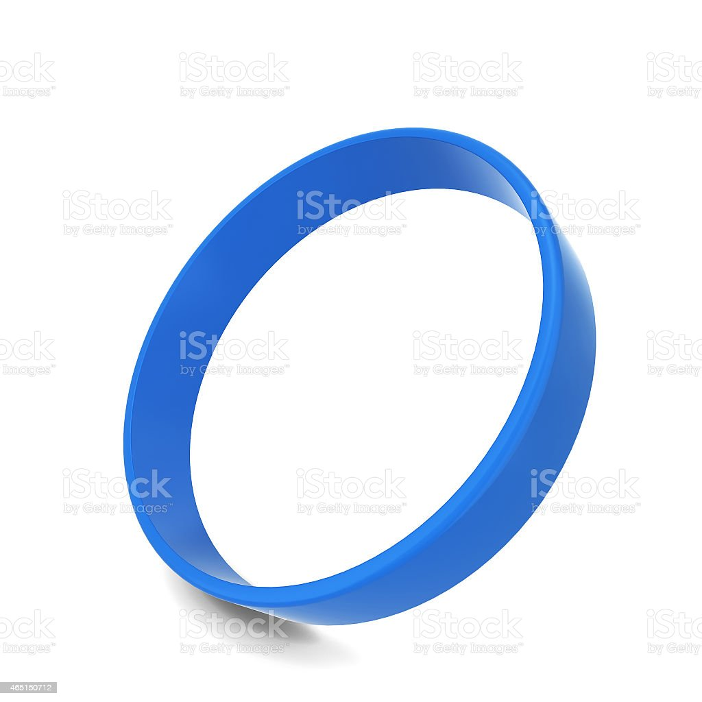 Blue rubber bracelet at a 75 degree angle isolated on white stock photo