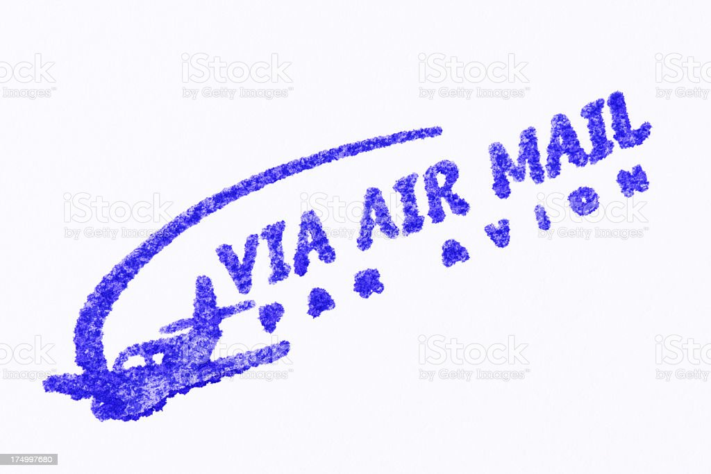 'VIA AIR MAIL' blue rubber stamp on white background royalty-free stock photo