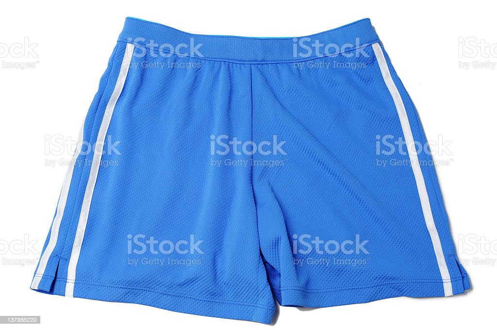 Blue Running Fitness Athletic Wear Shorts Isolated on White Background royalty-free stock photo
