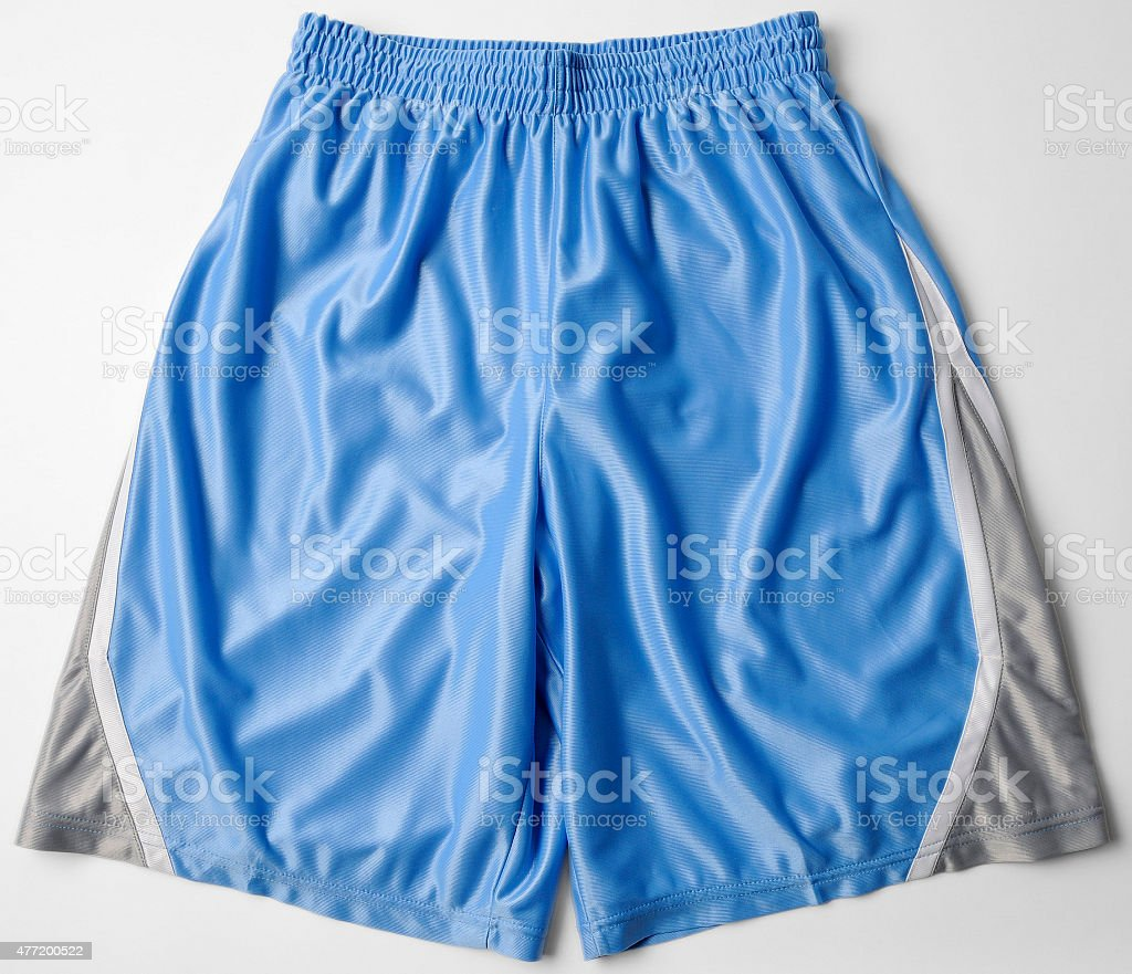 Blue Running Fitness Athletic Wear Shorts stock photo