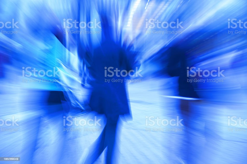 Blue Rushing People, Blurred Motion royalty-free stock photo