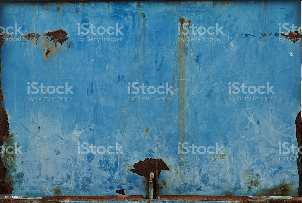 Blue, rusty  metal surface. royalty-free stock photo