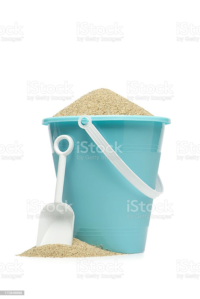 Blue Sand Pail stock photo