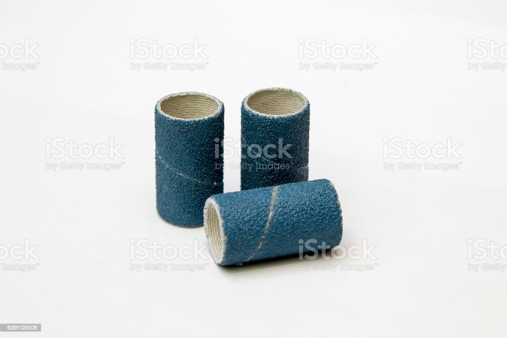 Blue sandpaper spiral band isolated stock photo