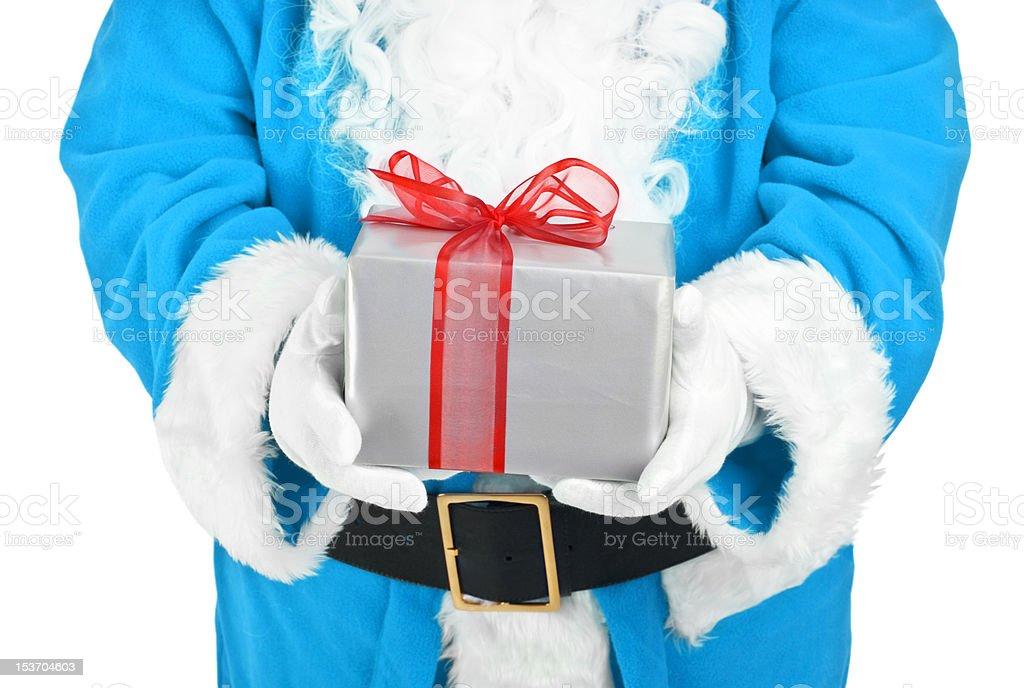 blue santa holding present royalty-free stock photo