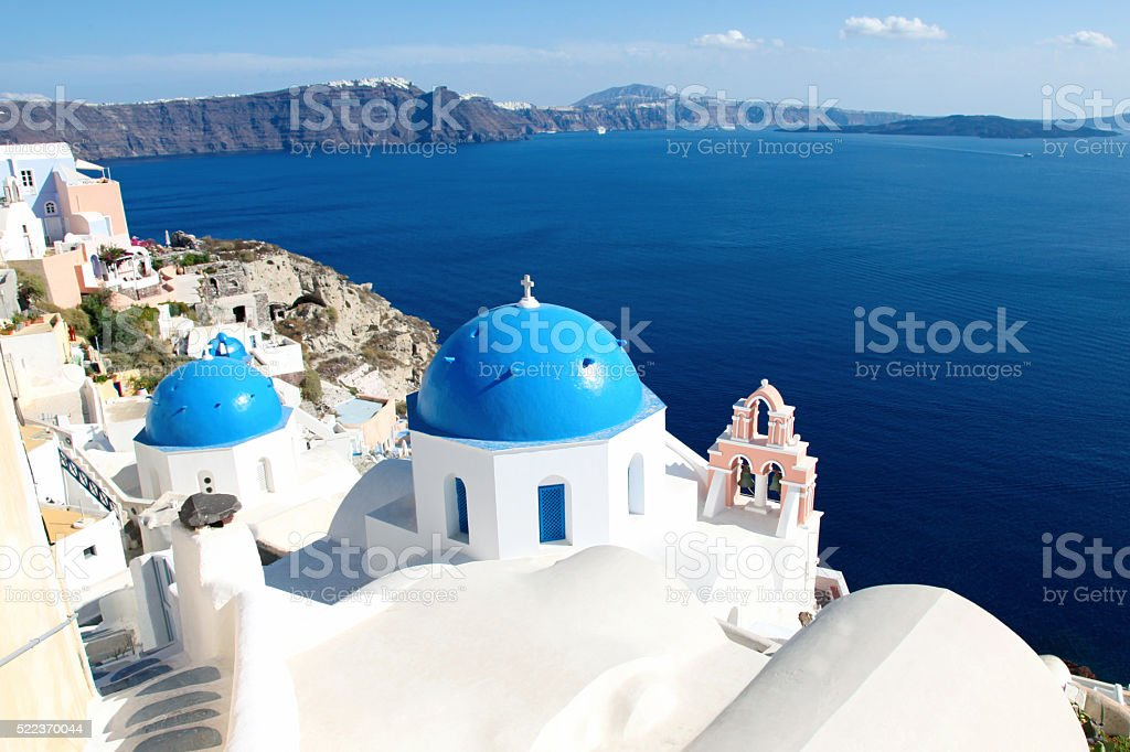 Blue Santorini Greece stock photo