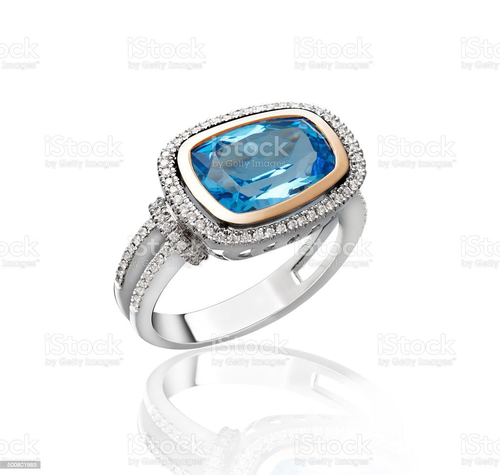 Blue sapphire diamond ring isolated on white stock photo