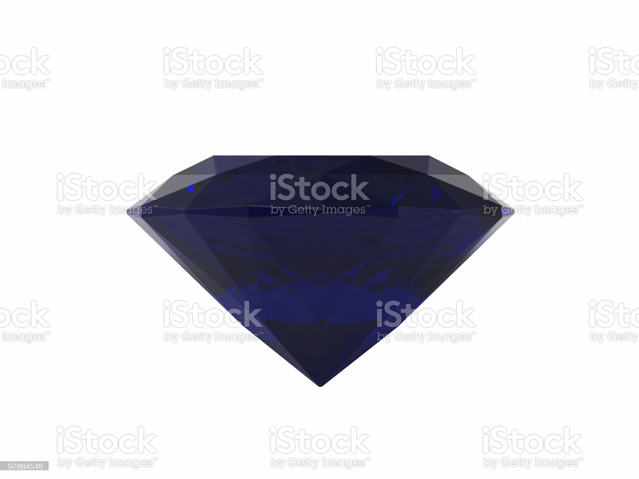 Blue sapphire on white background royalty-free stock photo