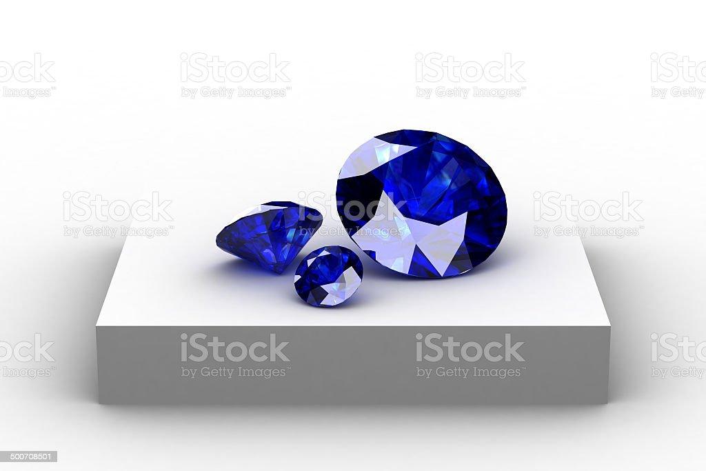 blue sapphire  on white podium royalty-free stock photo