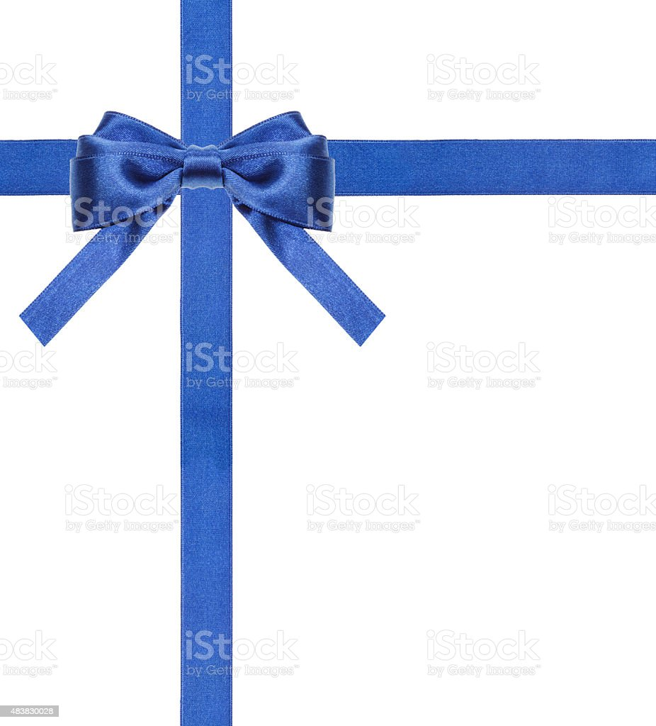 blue satin bows and ribbons isolated - set 13 stock photo