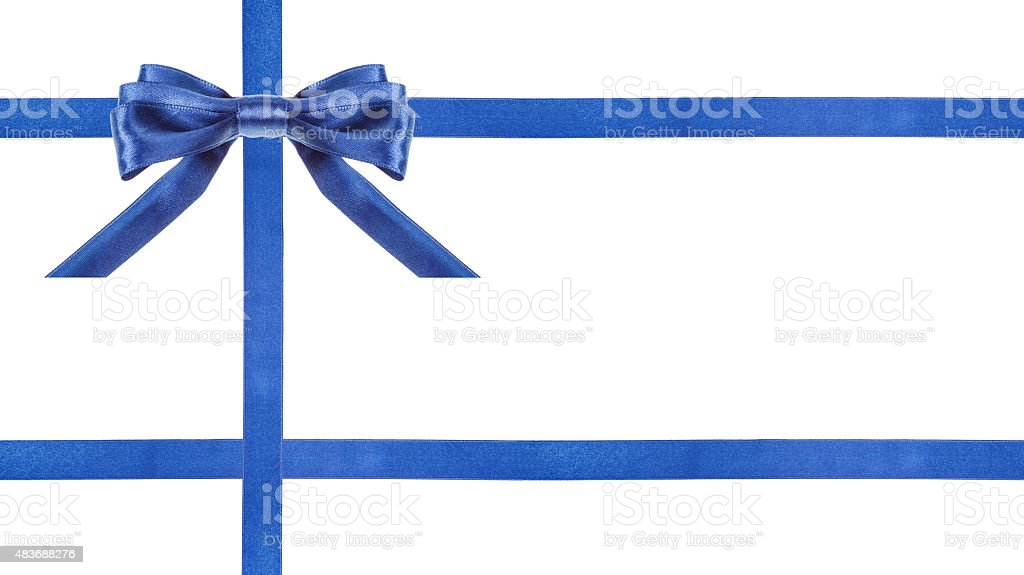 blue satin bows and ribbons isolated - set 25 stock photo