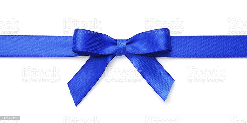 Blue Satin Gift Bow on White with Clipping Path stock photo