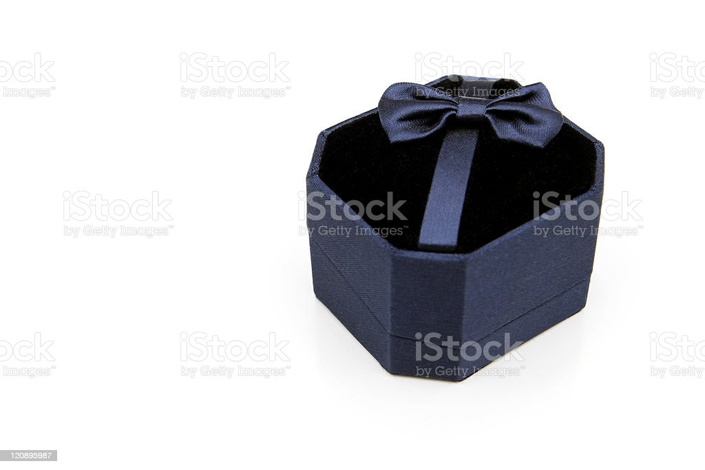 Blue satin wedding ring box royalty-free stock photo