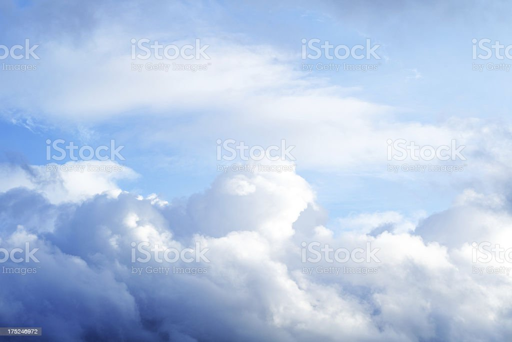 Blue saturated sky and clouds, nature abstract background royalty-free stock photo