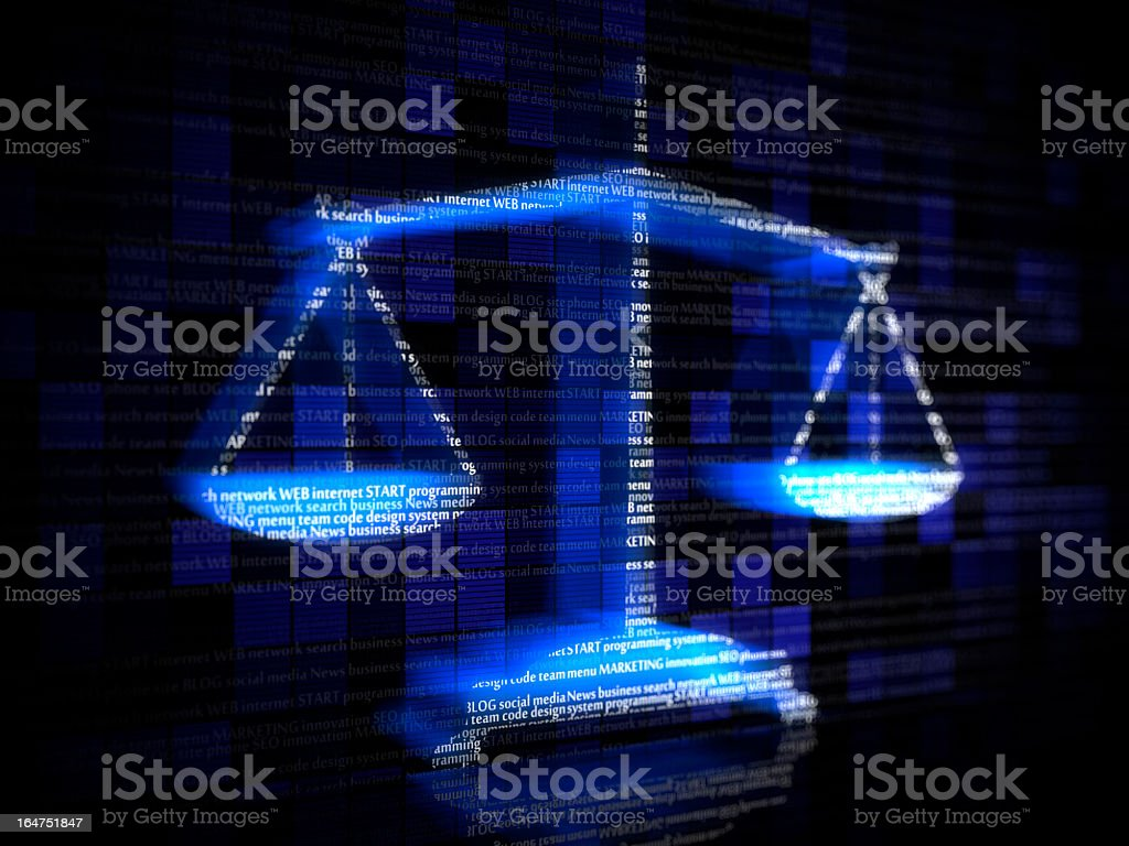 Blue scales with computer coding terms stock photo