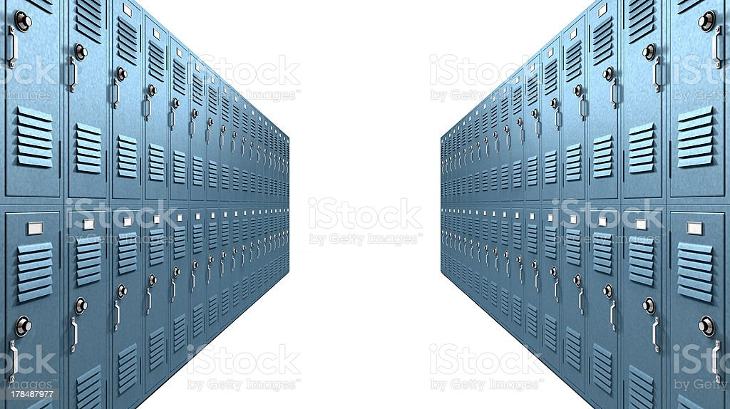 Blue School Lockers Aisle Perspective royalty-free stock photo