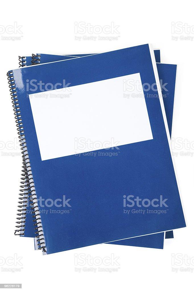 Blue school textbook, notebook stock photo
