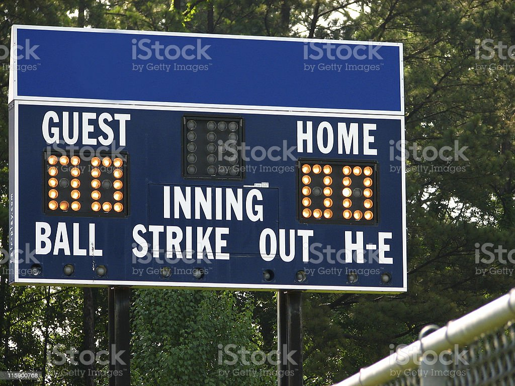 Blue Scoreboard stock photo