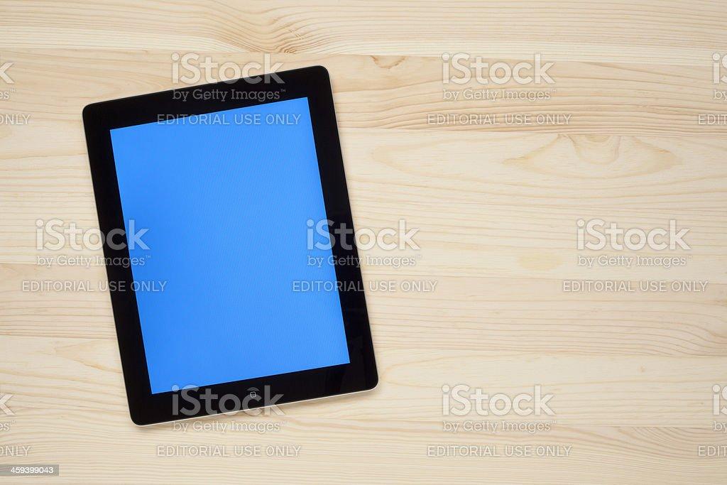 Blue screen on Apple iPad stock photo