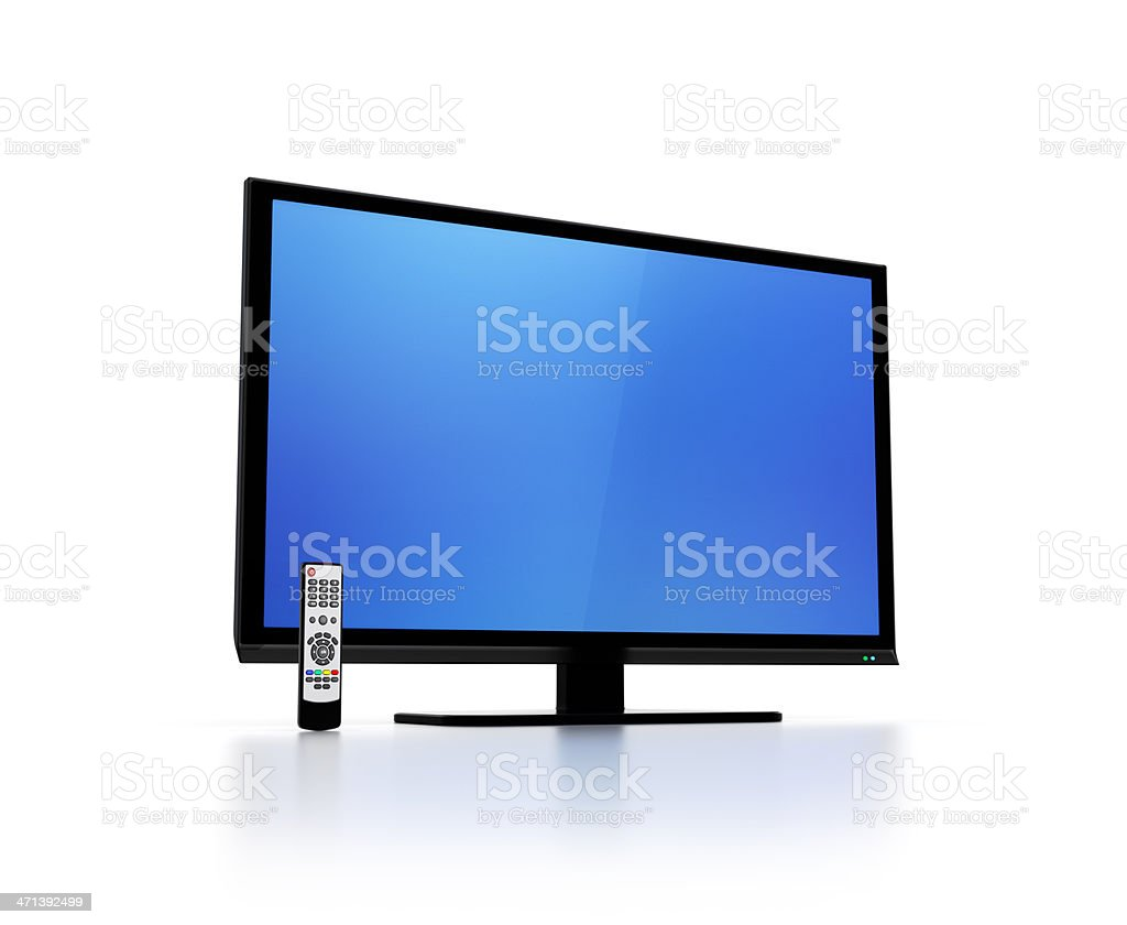 Blue screen on flat HD tv with remote control stock photo