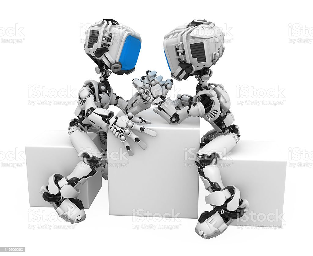 Blue Screen Robot, Arm-wrestling royalty-free stock photo