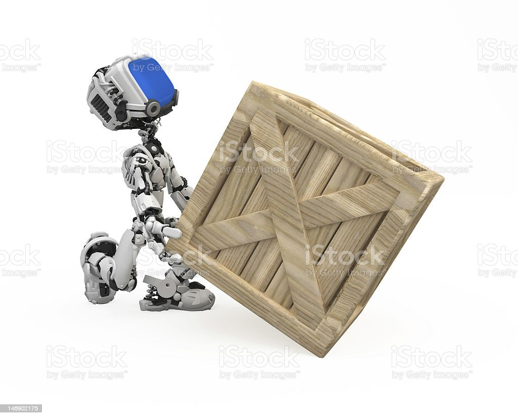 Blue Screen Robot, Crate royalty-free stock photo