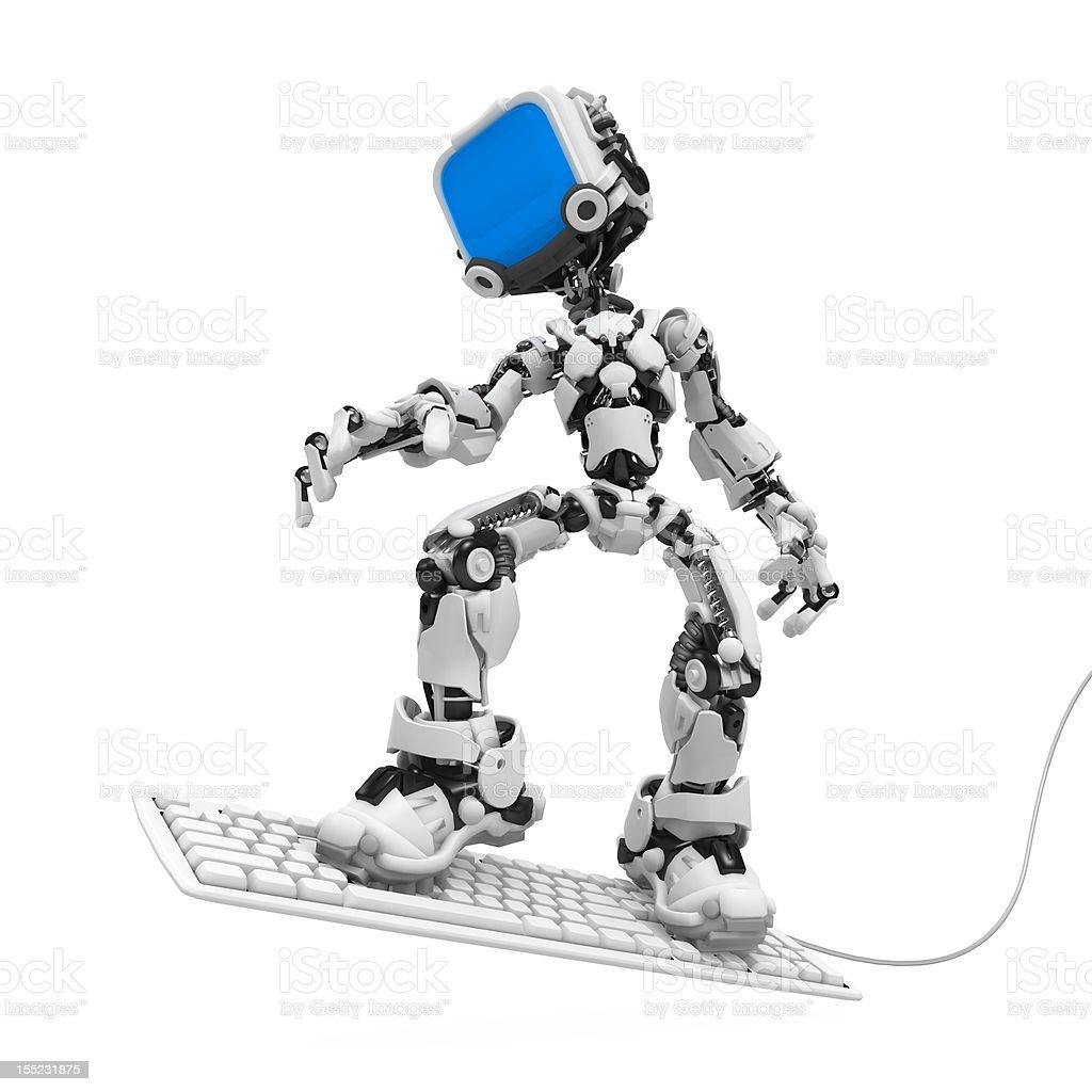 Blue Screen Robot, Keyboard Surf royalty-free stock photo