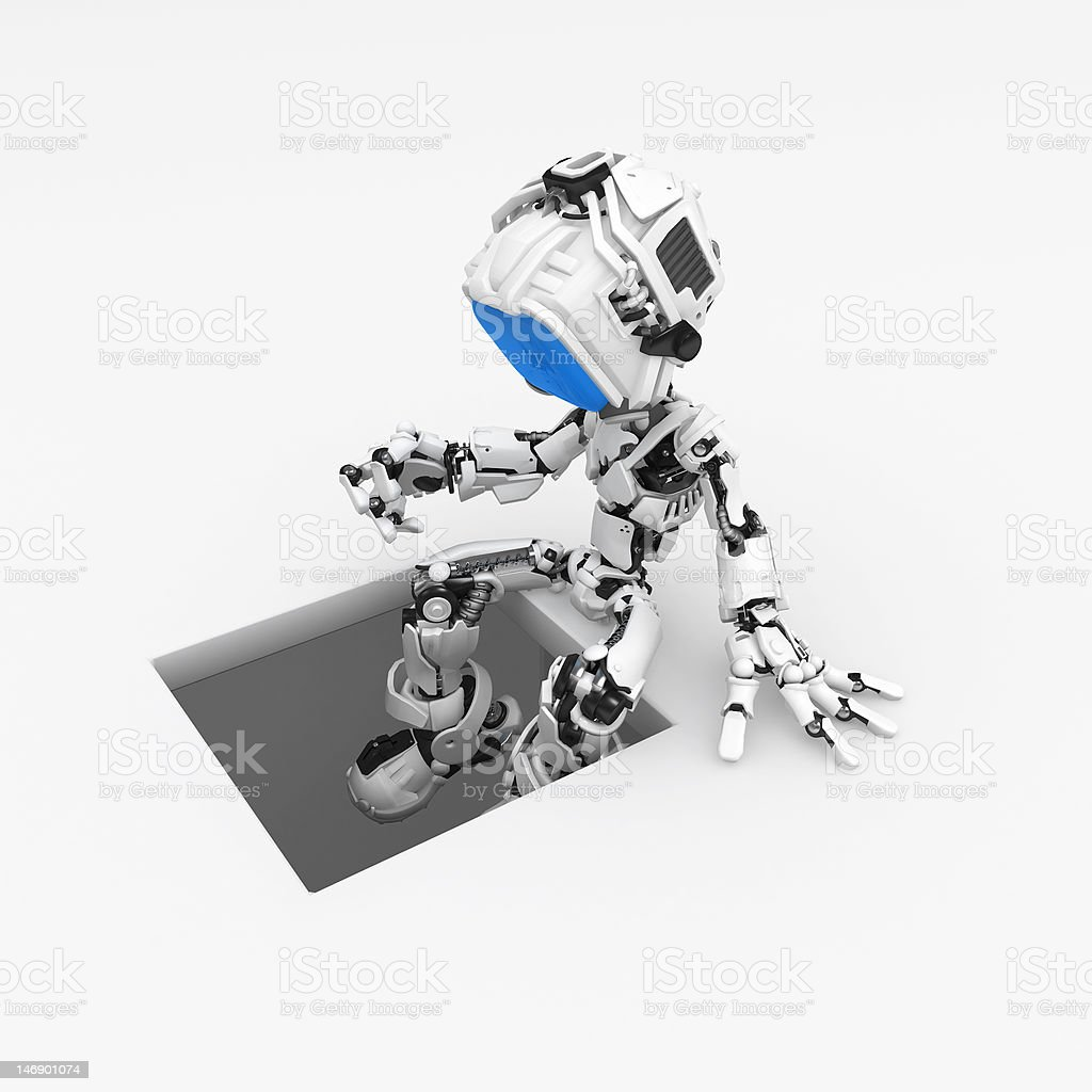 Blue Screen Robot, Pit royalty-free stock photo