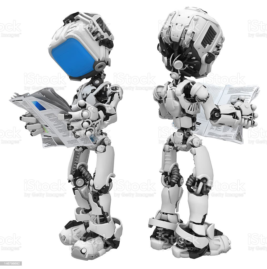 Blue Screen Robot, Reading Newspaper royalty-free stock photo