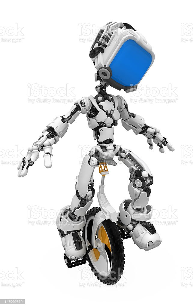 Blue Screen Robot, Unicycle royalty-free stock photo