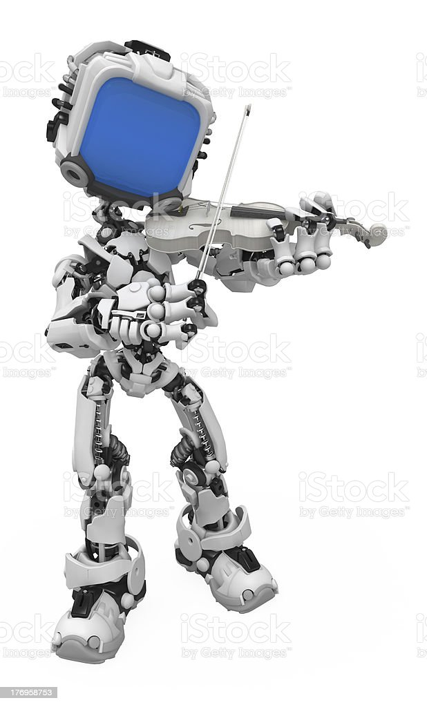 Blue Screen Robot, Violinist royalty-free stock photo
