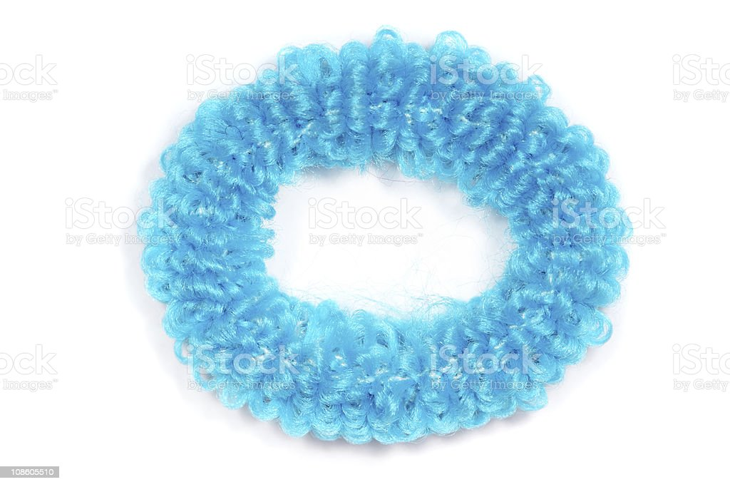 Blue scrunchies for hair isolated on white background stock photo