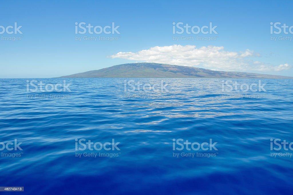 Blue sea and island of Lanai, Maui (USA) stock photo